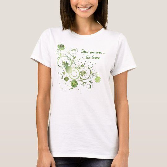 Floral Swirl Abstract Go Green Earth Day T-Shirt