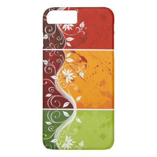 floral swirl art on red,orange,green background iPhone 8 plus/7 plus case