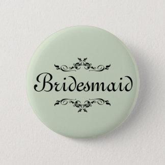 Floral Swirl Border Bridesmaid Button
