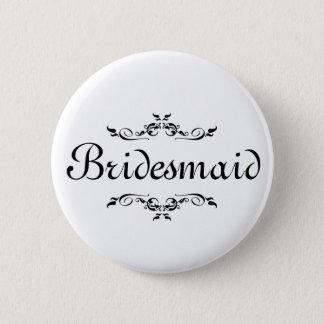 Floral Swirl Border Bridesmaid Pinback Button