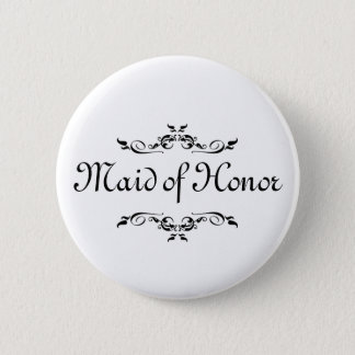 Floral Swirl Border Maid of Honor Button