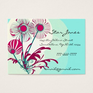 Professional Business Floral Swirl Business Card -Rasberry Blue Sherbert