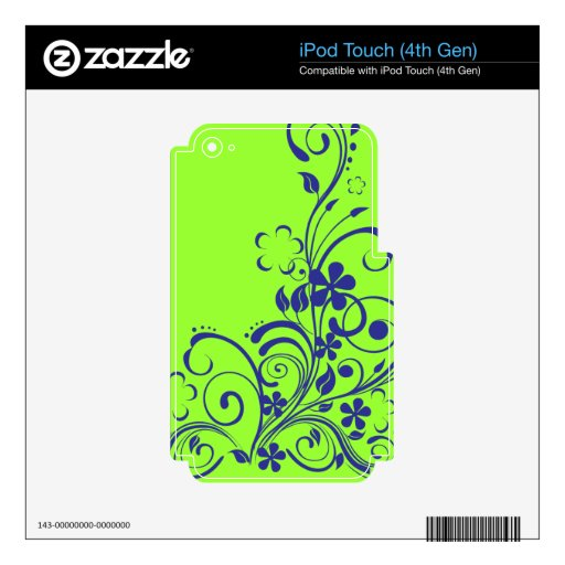 FLORAL SWIRL design graphics nature beauty flowers Skins For iPod Touch 4G
