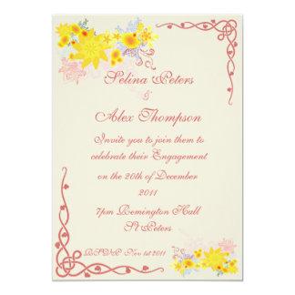 Floral Swirl Engagement Invitation
