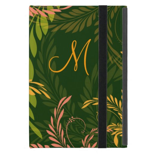 Floral Swirl Monogram iPad Mini Case
