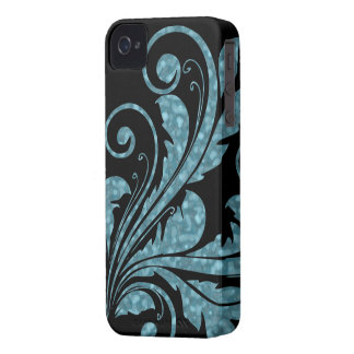 Floral Swirl ~ Muted Blue iPhone 4 Cover
