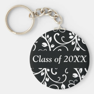 Floral Swirl Personalized Class Of Keychain