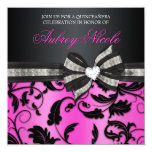 Floral Swirl Quinceañera Invite With Jeweled Bow