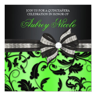 "Floral Swirl Quinceañera Invite With Jeweled Bow 5.25"" Square Invitation Card"