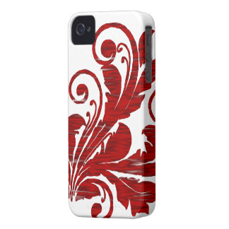 Floral Swirl ~ Red iPhone 4 Cover