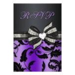 Floral Swirl RSVP With Jeweled Bow Announcements