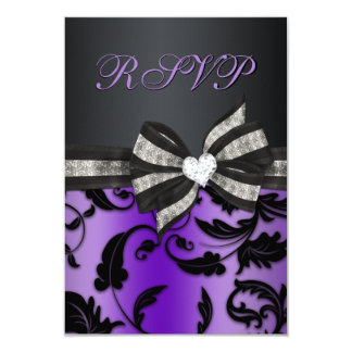 Floral Swirl RSVP With Jeweled Bow 3.5x5 Paper Invitation Card