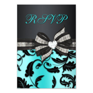 Floral Swirl RSVP With Jeweled Bow Personalized Invite