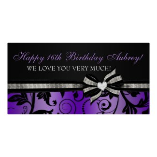 Floral Swirl Sweet Sixteen Banner zazzle_print