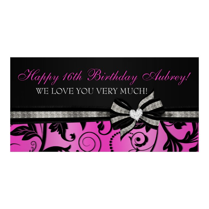 floral swirl sweet sixteen banner poster zazzle. Black Bedroom Furniture Sets. Home Design Ideas