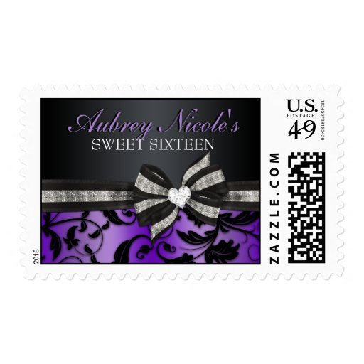 Floral Swirl Sweet Sixteen Stamps With Jeweled Bow