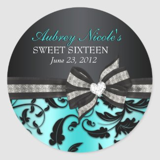 Floral Swirl Sweet Sixteen Sticker zazzle_sticker
