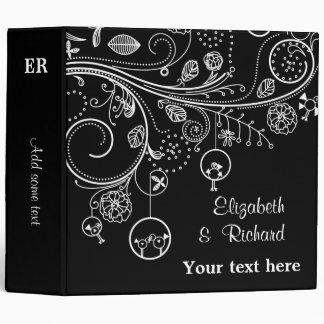 Floral swirls & birds black white wedding planner vinyl binder