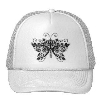 Floral Swirls Butterfly - Black & White Hats