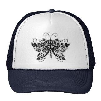 Floral Swirls Butterfly - Black & White Mesh Hats