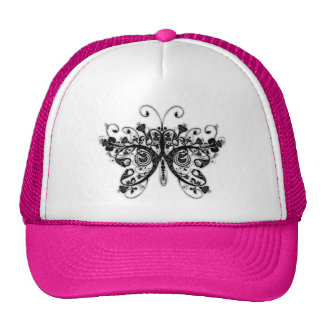 Floral Swirls Butterfly - Black & White Mesh Hat