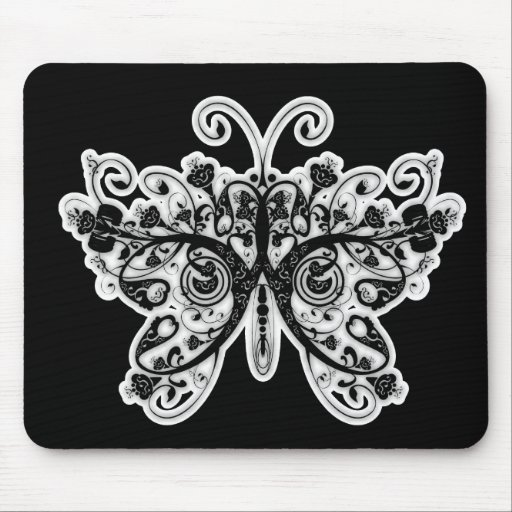 Floral Swirls Butterfly - Black & White Mouse Pad