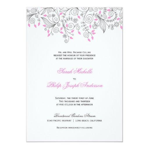 Floral Swirls Formal Script Wedding Invitations