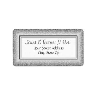 Floral Swirls Silver Address Labels