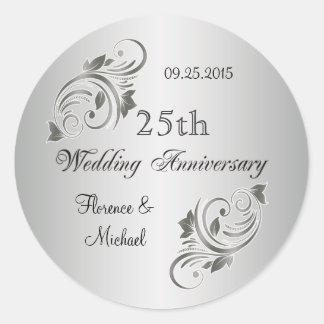 Floral swirls silver gray Anniversary Sticker Sticker