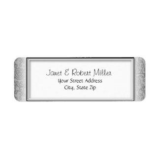 Floral Swirls Silver Return Address Labels label