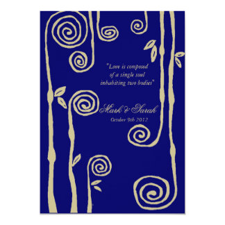 Floral Swirls Wedding Invitation P Navy Blue