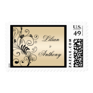 Floral Swirls Wedding Stamps