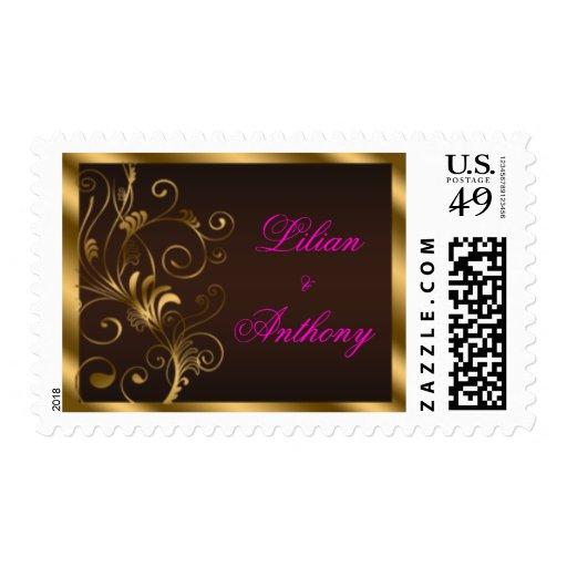 Floral Swirls Wedding Stamps