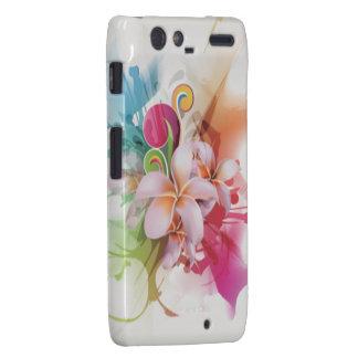 Floral swirly design in bright colors motorola droid RAZR cover