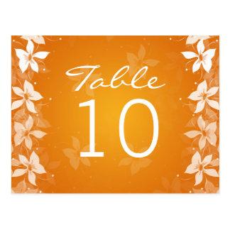 Floral Table Number Exotic Blooms Orange Postcard