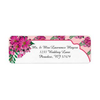 Floral tan rosado etiqueta de remitente