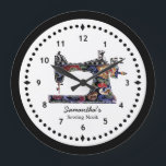 "Floral Tapestry Sewing Machine Large Clock<br><div class=""desc"">This sewing themed wall clock is printed with a vintage sewing machine image pieced and stitched with bright faux fabric scraps simulating floral tapestry. Easy to see numbers on a crisp clean black and white face. Personalize the text in the easy Zazzle editor for your favorite sewing or quilting enthusiast....</div>"