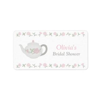 Floral Tea Party Bridal Shower Party Decor Label