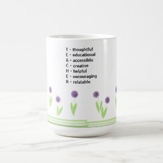Floral Teacher Acrostic Design Coffee Mug