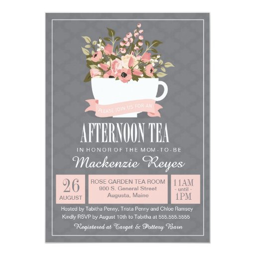 Floral Teacup Afternoon Tea Baby or Bridal Shower Card | Zazzle