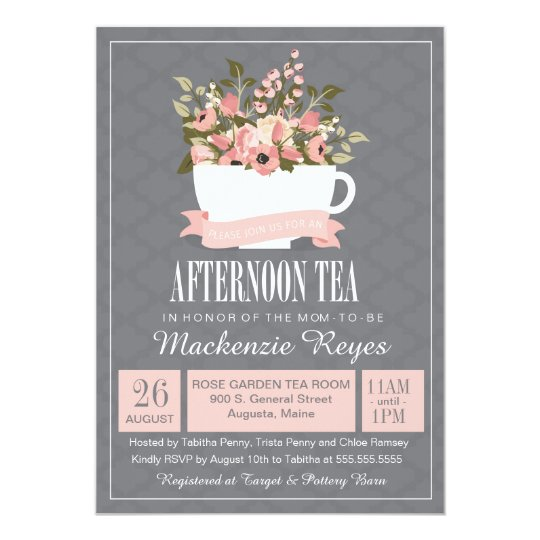 High tea invitations announcements zazzle floral teacup afternoon tea baby or bridal shower card stopboris Choice Image