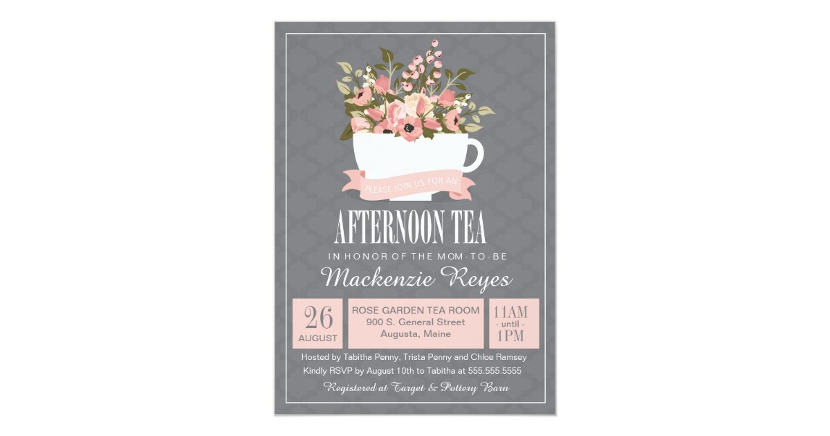 Floral Teacup Afternoon Tea Baby or Bridal Shower Invitation ...