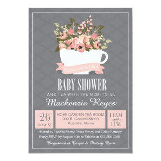 floral teacup baby shower invitation tea party card
