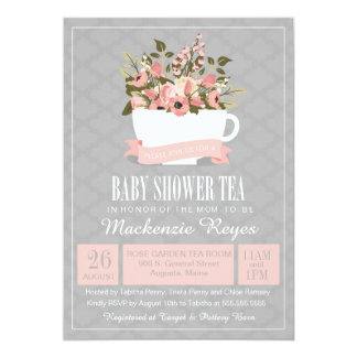 Floral Teacup Baby Shower Tea Invitation