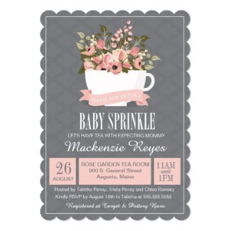 Floral Teacup Baby Sprinkle, Tea Party Invitation
