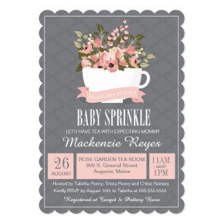 Floral Teacup Baby Sprinkle, Tea Party Invitation