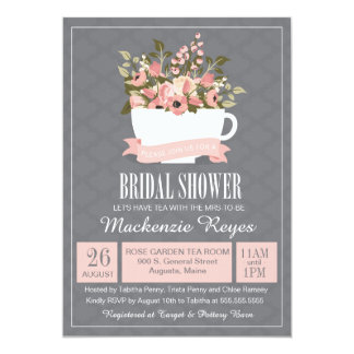 floral teacup bridal shower invitation tea party card