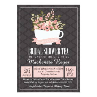 Floral Teacup Bridal Shower Tea Invitation