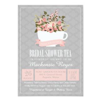 Floral Teacup Bridal Shower Tea Invitation