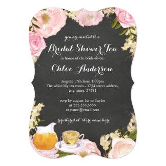 Floral Teacup Chalkboard Bridal Shower Invite
